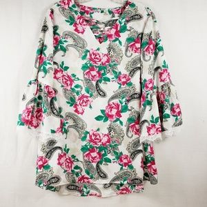 Cato Bell Sleeve Floral Blouse Size 14/16W